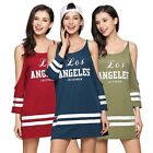 Womens Ladies Cold Cut Out Shoulder T Shirt Top Sporty Stripes Sleeve Mini Dress