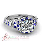 3/4 Carat Sapphire And Diamond Rings For Women In Platinum With Round Diamond
