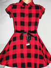 GIRLS RED BLACK CHECK PRINT FLARED CASUAL PARTY SHIRT DRESS with RIBBON BELT