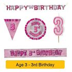 AGE 3 - Happy 3rd Birthday PINK GLITZ - Party Balloons, Banners & Decorations