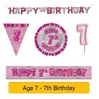 AGE 7 - Happy 7th Birthday PINK GLITZ - Party Balloons, Banners & Decorations