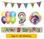 AGE 9 - Happy 9th Birthday Party Banners, Balloons & Decorations