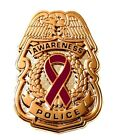 Burgundy Awareness Ribbon Pin Police Badge Security Sheriff Causes Gold New