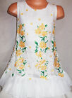 GIRLS YELLOW ROSES FLORAL PRINT LACE CHIFFON SPECIAL OCCASION PARTY DRESS