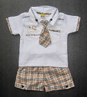 BABY BOY OUTFIT T-Shirt Tie Shorts Designer Suit Soft Cotton Formal Casual Wear