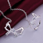 2 Color New 925Sterling Silver Jewelry Bowknot lady Necklace Ring Set ZS738A-B
