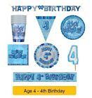 AGE 4 - Happy 4th Birthday BLUE GLITZ - Party Balloons, Banners & Decorations/HB