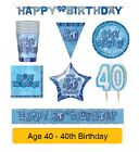 AGE 40 - Happy 40th Birthday BLUE GLITZ - Party Balloons, Banners & Decorations