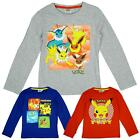 Boys Official Pokemon Eevee Evolutions Long Sleeve T-Shirt Top 4 to 12 Years