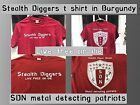 Stealth diggers burgundy red SDN Shield logo Shirt Metal Detecting patriots LFOD
