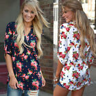 Leisure Womens Blouse Floral Long Sleeve Ladies V Neck Loose Casual T Shirt Tops