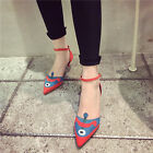 Womens ankle strap stilettos pointed toe mixed color shoes faux suede OL Fashion