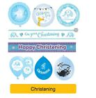 BLUE/BOY CHRISTENING Party Banners, Balloons, Decorations