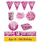 AGE 18/18th Birthday PINK SPARKLE Birthday Party Range - Tableware Banners Decs