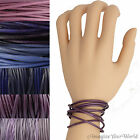 Purple Leather Cord Multi Wrap Bracelet Custom Handmade 72 inches USA necklace