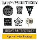 AGE 40 - 40th Birthday BLACK & SILVER GLITZ - Party Banners,Balloons&Decorations