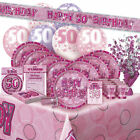 AGE 50 - Happy 50th Birthday PINK GLITZ - Party Range, Banners & Decorations
