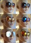 "FASHION MIRROR AVIATOR 2.5"" POLYCARBONATE WIDE LENS UV400 SUNGLASSES PICK COLOR"