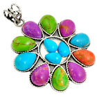 925 SILVER SOUTH WESTERN MULTI COLOR COPPER TURQUOISE PENDANT JEWELRY J26535