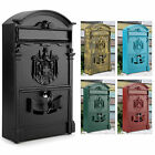NEW VINTAGE OUTDOOR LOCKABLE POST BOX LARGE MAILBOX LETTER BOX MAIL WALL MOUNTED
