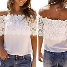 New Summer Women Lace Vest Top Tank Casual Blouse Tops Off Shoulder T-Shirt