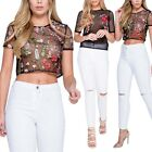 Women Short Sleeve Embroidery Tops Floral Hollow T-Shirt See-through Crop Top US