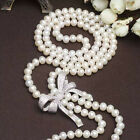 AA7-8mm White freshwater pearl necklace Platinum plated diamond