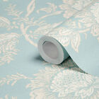 Arthouse Cabaletta Duck Egg Wallpaper -  Shabby Chic Flower Wall - 662900
