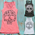 Fashion Women Summer Casual Vest Top Sexy Skull Print Lace Back Tank Tops JR