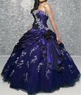 Stock Embroidery Quinceanera Dress Prom Ball Gown Formal Evening Gowns Size 6-16