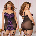 Plus Size Lingerie One Size 1X 2X or 3X 4X Black Gartered Chemise  STM9732X