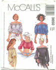 McCalls 3650 Pullover Peasant Tops Sewing Pattern