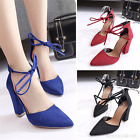 Sexy Women Pointed Toe High Heel Strappy Classic Thick Block Heel Shoes Summer