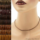 2 mm Brown Leather Cord Necklace or Choker Custom Length pck colors Handmade USA
