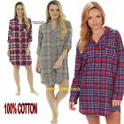 Ladies Flannel nightwear 100% Cotton OR Brushed Nightshirt Night Shirt NIGHTIE