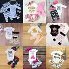 3PCS Newborn Baby Boys Girls Outfits Clothes Romper Jumpsuit Bodysuit+Pants Sets