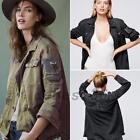 Loose Fit Embellished Embroidered Beaded Army Military Shirt Jacket Outwear Coat
