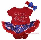 Queen's Day Red White Cute Red Bodysuit Blue UK Flag Girl Baby Dress Set NB-18M
