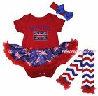 Queen's Day British Red Bodysuit Blue UK Flag Girls Baby Dress Leg Warmer NB-18M
