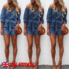 ISASSY Womens Ladies Off the Shoulder Mini Playsuits Summer Shorts Jumpsuit 6-14