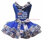 I Love Mommy Daddy US 4th July Blue Top USA Flag Satin Trim Skirt Girl Set NB-8Y
