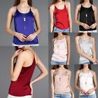 M-3XL Womens Silk Tank Vest Satin Lingerie Camisole Cami Plain Top Strappy Shirt