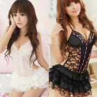 Lace Sexy Passion Lingerie Backless Halter Babydoll G-string Lace Cake Dress