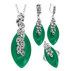 Resin Rhinestone Leaf Plant Pendant Jewelry Sets Exotic Necklace Earrings Ring
