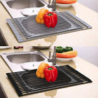 Roll Up Dish Drying Rack Over The Sink Drainer Stainless Steel Dry Kitchen Mat