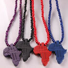 Black Beads Link Chain Wooden Africa Map Pendant Necklace Jewelry For Men Women