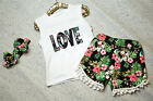 Summer Kids Baby Girls Toddler T-shirt Love Tops+ Shorts Pants Clothes Outfits
