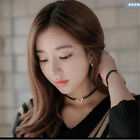 New Womens Fashion V-Shape Leather Choker Bib Collar Necklaces Gothic Jewelry