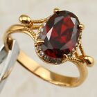 Size 6 7 8 Classical Garnet Red Oval Gem Jewelry Yellow Gold Filled Ring R2209
