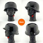 Military WW II German Army Retro Style Half Face Helmet Gloss Skull Chopper